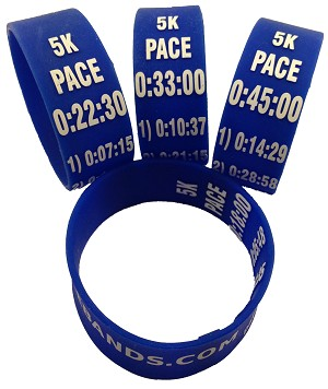 5k Paceband 38:00 Blue/White